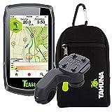 TEASI ONE Classic - Fahrrad- & Wandernavigation+USB Netzteil+ optionales Zubehör (Teasi Classic + Lenkerhalter abgewinkelt, Tasche)