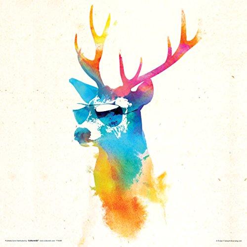Culturenik Robert Farkas Deer Sonnenbrille Modernes Animal Bird Decorative Art Poster Print 12Wx12L Mehrfarbig