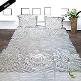 600tc 100% ägyptische Baumwolle elegant Finish 3Blumen Rüsche Bettbezug-Set massiv, baumwolle, White Solid, UK_Small_Double