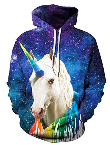 Leapparel Unisex Bunte 3D Pullover Hoodie Sweatshirt für Männer und Frauen mit großen Tasche Cool Graphic Prints Animal-Unicorn2