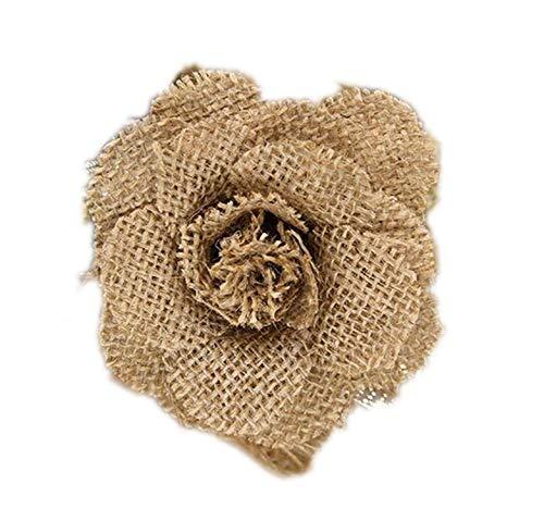 gefertigte Jute-Sackleinen-Blumen Rose Shabby Chic Hochzeit Dekoration Weihnachten Party Supplies 5 pcs B ()