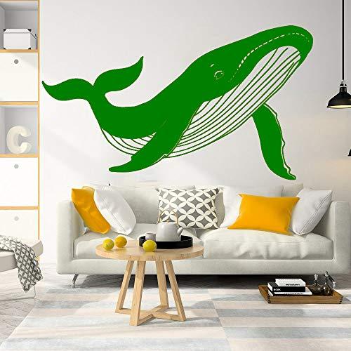 jiushizq Große geometrische Whale Nautical Animal Wall Decal Spielzimmer Kindergarten Cartoon Whale Marin Seefisch Wandaufkleber Schlafzimmer Vinyl L 5 72X42CM