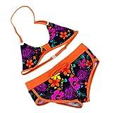 Mädchen Bikini Kinder Mädchen Baby 2tlg Bikini Blumenmuster Tankini Set Schwimmanzug Badeanzug Bademode (158/164, Orange)