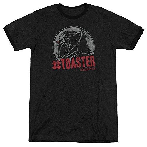 Battlestar Galactica Männer #Toaster Ringer T-Shirt, Small, Black