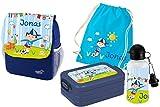Mein Zwergenland Set 5 Kindergartenrucksack mit Brotdose Maxi, Turnbeutel Baumwolle und Flasche Happy Knirps Next Print mit Name Junge, 4-teilig, Blau