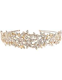 EVER FAITH® Mujer austríaca de cristal de la boda flor racimo banda de pelo claro oro-tono