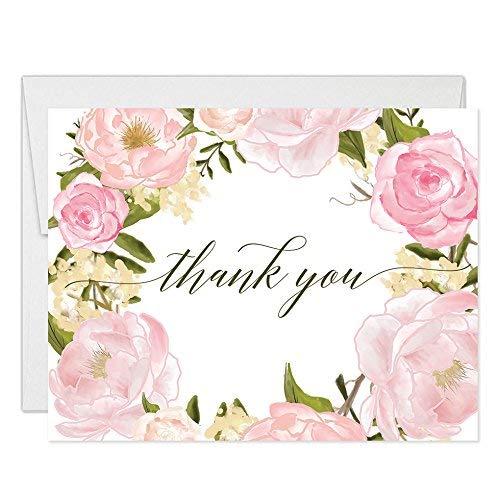 osen Kranz Thank You Karten mit Umschläge (25Stück) Beautiful Buds dank Geburtstag Baby Bridal Dusche Taufe Taufe Thank You Hervorragende Wert Gracias Aufstellkarten vt0046b ()