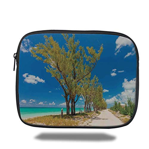 Blue Beach Bag (Tablet Bag for Ipad air 2/3/4/mini 9.7 inch,Beach,Stunning Image of Some Trees Seacoast Ancient Archaic Idyllic Beach Scenery,Blue Green Cream,Bag)