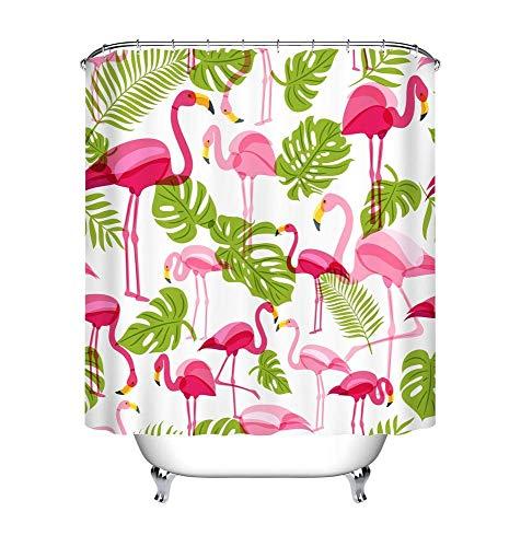chili Sommer-Tropische rosa Flamingo-Grün-Palme Blätter_Duschvorhang Wasserdicht Polyester Stoff Badvorhänge 150W * 180H cm