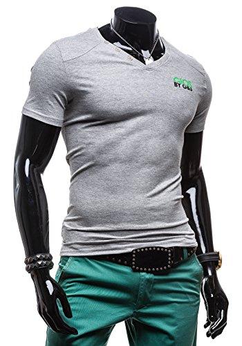 BOLF Herren T-shirt Figurbetont Kurzarm Slim Fit Classic Basic 3C3 Grau