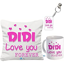 SKYTRENDS Ceramic 1 Coffee Mug, 1 Keychain , 1 Micro-Satin Cushion Cover with Filler Size: 12 X 12 inch Surprise for Sister on Raksha Bandhan (Multicolour)