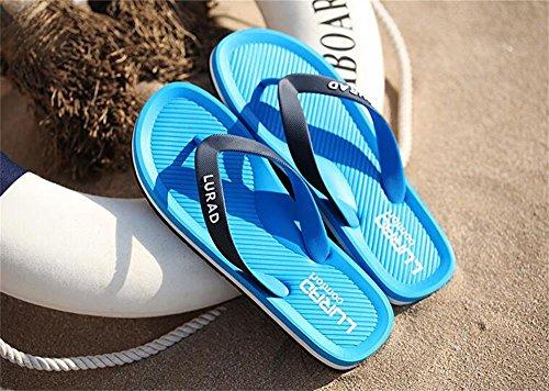 ALUK- Sandales d'été - Pantoufles d'hommes avec l'Europe et les États-Unis Tendance de chaussures de plage ( Couleur : Bleu , taille : 44 ) Bleu