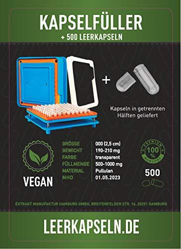 Kapselfüller + 500 Leerkapseln | Platz für 100 Kapseln | Größe 000 | Kapselfüllgerät zum...