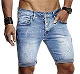 LEIF NELSON Herren Männer Jungen Sommer Kurze Jogger Jeans Hose Shorts Jeanshose Chinos Cargo Bermuda Basic 5-Pocket, Blau, W32