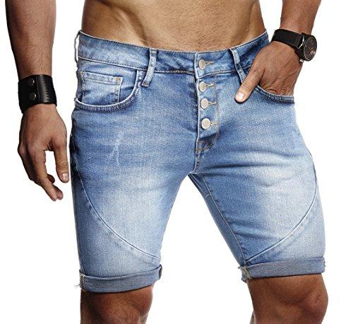 LEIF NELSON Herren Männer Jungen Sommer Kurze Jogger Jeans Hose Shorts Jeanshose Chinos Cargo Bermuda Basic 5-Pocket Destroyed Used Stretch Freizeithose Denim Slim Fit LN9160; W34; Blau | 04251510253134