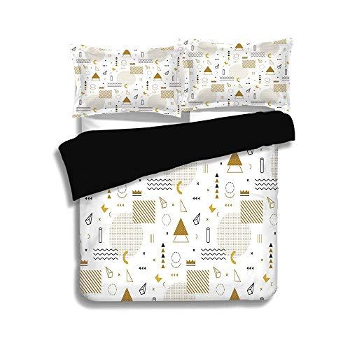 Schwarzer Bettbezug-Set, Indie, Memphis Fashion Elements Minimalistisch Geometrische Figuren Abstrakt Vintage Artsy Dekorativ, Gold Schwarz Weiß, Dekorativ 3-teiliges Bettwäscheset von 2 Pillow Shams,