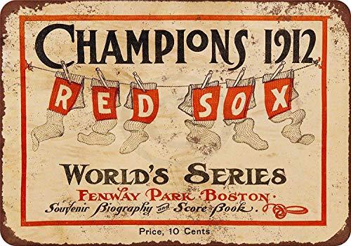 Gogik 1912 World Series Red Sox Maltese Wall Blechschild Iron Painting Vintage Metall für Bar Garage Cafe Home -