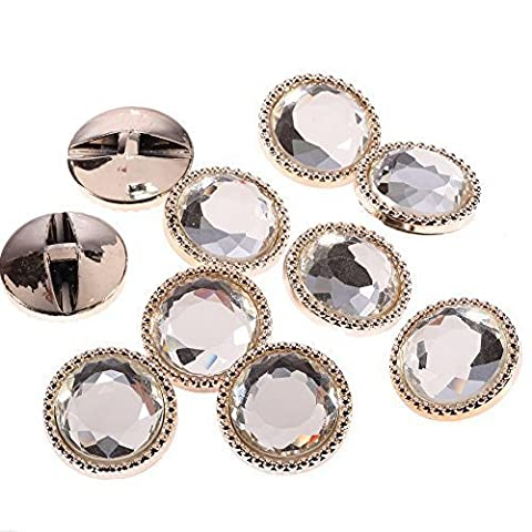 20 x 25mm Light Gold Round Glass Buttons Faceted Crystal
