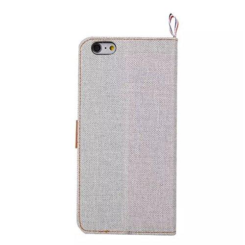 iPhone 6 Hülle Case,iPhone 6S Hülle Case,Gift_Source [Card Slots] [Double Color Stitching] Fashion Slim Denim Fabric Design Premium PU Leder Magnetic Closure Mit Stand Flip Hülle Case für iPhone 6s /  E01-05-White160611