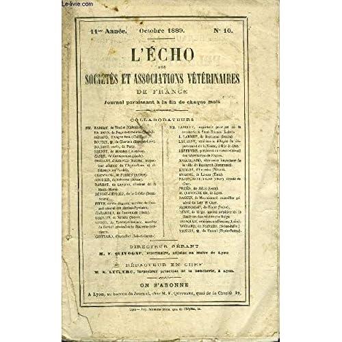 L'ECHO DES SOCIETES ET ASSOCIATIONS VETERINAIRES - Octobre 1889