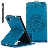 Sony Xperia Z5 Compact Hülle Blau,Slynmax Blumen Mandala Flip Hülle Schutzhülle für Sony Xperia Z5 Compact Tasche Wallet Case Leder Klapphülle Bumper Handyhülle Ständer Kartenfächer Magnetverschluss