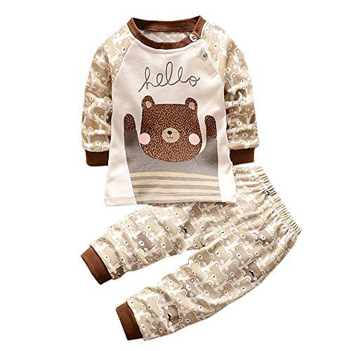 Mbby Tuta Bambino Orso 0 3 Anni Completino Bambino Ragazza E Ragazzi 2 Pezzi Pigiama Tute Invernale Autunno Maglietta e Pantaloni Set Caldo Manica