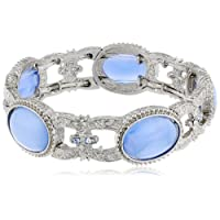 "‏‪1928 Jewelry ""Flowers and Pastels"" Silver Tone Light Blue Moonstone Colored Stretch Bracelet‬‏"