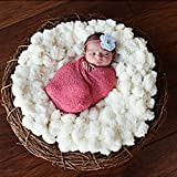 Tiaobug Foto Fotografie Prop Baby Kostüm Häkeln Strick Kuscheldecke Babydecke Blanket Handarbeit (Weiß)