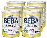 Nestlé BEBA PRO HA PRE Hypoallergene Säuglings-Anfangsnahrung, hydrolisierte & hypoallergene Baby-Nahrung, von Geburt an, 6er Pack (6 x 800 g)
