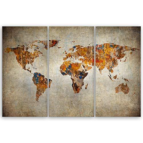ge Bildet® hochwertiges Leinwandbild - Weltkarte Retro - 90 x 60 cm mehrteilig (3 teilig) 2048II
