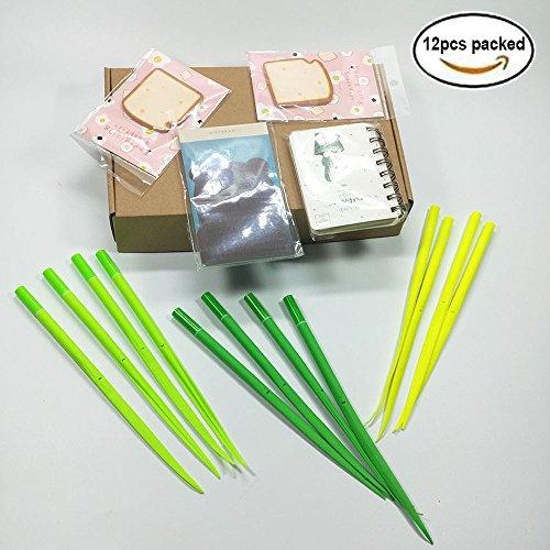 Leaf Pen Poo-Blatt Wald Green Pen 12pcs verpackt Grass-Blade Kugelschreiber Silikon Grass Pen 3 Farben schwarz Tinte 0,5 mm Slim Refill beste Büro Dekor