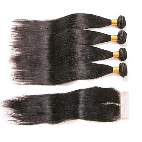 silkylong4 bundles straight brazilian hair with lace closure hair weave