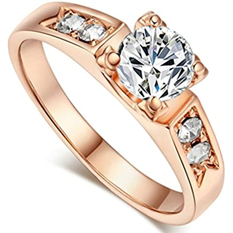 SaySure - 18K Real Rose Gold & White Gold Plated Austrian (SIZE : 9)