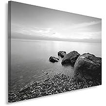 Feeby Frames, Cuadro en lienzo, Cuadro impresión, Cuadro decoración, Canvas 40x50 cm, PLAYA, ROCAS, MAR, BLANCO Y NEGRO