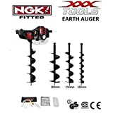 52cc POWERFUL 1 MAN PETROL EARTH AUGER / POST HOLE BORER INCLUDING 100MM / 150MM / 200MM DRILL BITS + WALBRO CARB / BOSCH PLUG