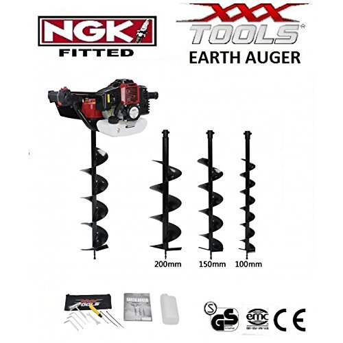 xxx powertools 52cc POWERFUL 1 MAN PETROL EARTH AUGER/POST HOLE BORER INCLUDING 100MM / 150MM / 200MM DRILL BITS + WALBRO CARB/BOSCH PLUG