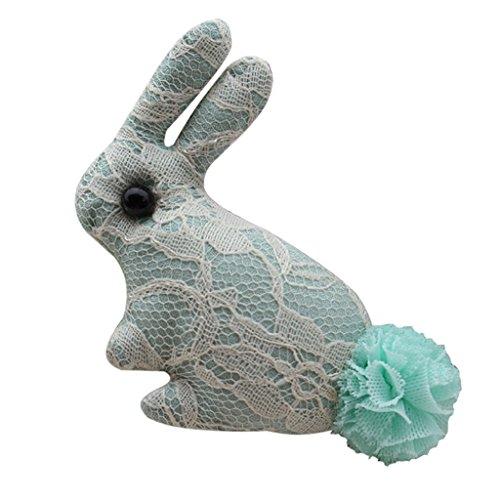 e Niedlich Kaninchenform Frauen Hemd Mantel Hut Deko Broschen Hochzeitsfeier Party Zubehör Spitze Brooch Mädchen Schmuck (Grün) (Grüne Spitze Hüte)