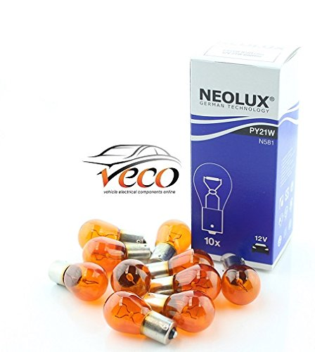 Preisvergleich Produktbild NEOLUX Osram 12 Volt 12 V PY21 Watt 21 W,  BAU15s N581 Auto Leuchtmittel x10