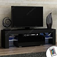 Modern TV Unit 130cm Cabinet Black Matt and Black High Gloss FREE LED RGB Lights