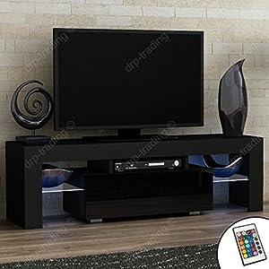 Modern TV Unit 130cm Cabinet Black Matt and Black High Gloss FREE LED RGB Lights