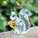 H & D Kristall Tier Mini Eichhörnchen Sammlerartikel Figurine Skulptur Briefbeschwerer Tisch Ornament Dekoration