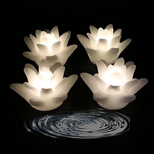 Acmee (4Stück) Flammenlose Wachs LED Wasser schwimmende Lotus Kerze Licht für Hochzeit Oder Event Dekoration./LED Schwimmende Kerze Licht in Blume Form warmweiß (Schwimmende Lotus Kerzen)