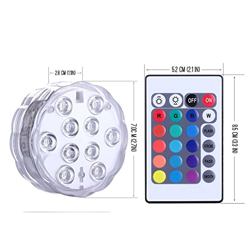 Luces LED sumergibles, ROMER Led luces IR Remote Controlled 10-LED RGB Batería impermeable (incluido) Luces Powered para Acuario, Vase Base, estanque, jardín, fiesta, Navidad, Halloween, luces de piscina (1 paquete)