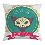 New Shorts Mexican Decorations Throw Pillow Cushion Cover by, Dead Themed Sugar Cat Skull Mask in Gold Circle Frame with