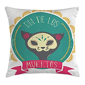 New Shorts Mexican Decorations Throw Pillow Cushion Cover by, Dead Themed Sugar Cat Skull Mask in Gold Circle Frame with Spanish Words, Decorative Square Accent Pillow Case, 18 X 18 inches, Teal Pink