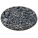 LB Tappeto Rotondo, Pebble Stone Patterned Lavabile Morbido Tappeto Interno Tappetino zerbino Tappetino per Soggiorno Camera da Letto per Bambini, Diametro di 80cm