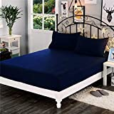 "Dream Care v Waterproof Dust-Proof Terry Cotton Mattress Protector for King Size Bed - 78""x72"", NavyBlue"