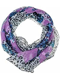Chiffon Fashion Scarf / Animal Flower Printed Classy Scarves (Flower & Leopard - Purple)