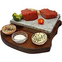 Piedra para Asar Carne a la Piedra de 20x20 Modelo Curvas 3 salseros