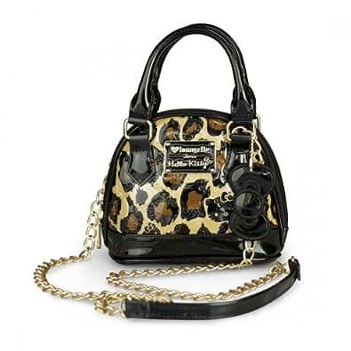 "b086152cd Fourever Funky Women's Hello Kitty Leopard Embossed Micro Dome Crossbody Bag  W: 6"" X H"